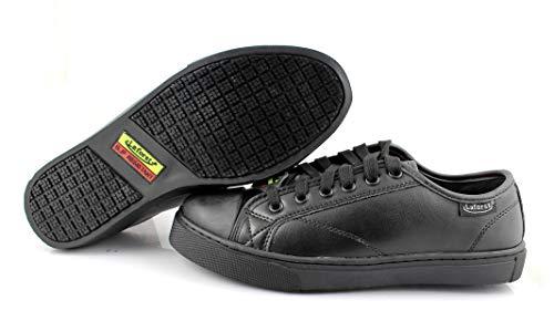 Laforst Womens 3134 Leather Slip Resistant Lace Up Work Flats Black Shoes 9.5