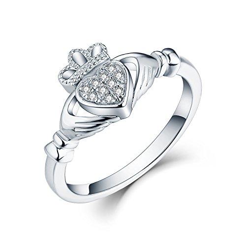 JO WISDOM Aanillo de Mujer Plata de Ley 925,Anillo Celta Claddagh Corazón Promesa Irlandesa con Piedra de Nacimiento de AAA Circonita