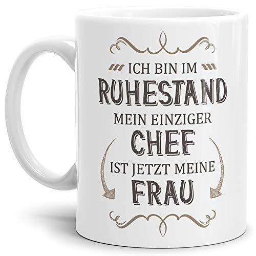 Tassendruck Geschenk-Tasse Zum Ruhestand mit Lustigem Spruch:Mein einziger Chef ist Jetzt Meine Frau/Rente/Rentner/Pension/Abschieds-Geschenk/Weiss