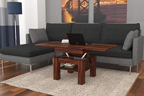 Design Couchtisch Tisch Cleo Nussbaum Walnuss höhenverstellbar 57 / 69cm aufklappbar 75 / 150cm Esstisch