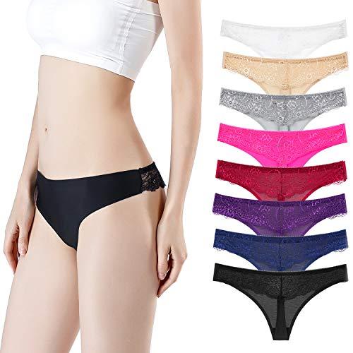Annilove Schlüpfer für Frauen Mehrfarbige Unterwäsche Sexy Spitze Bikini Slips Höschen 8er Pack (Multicolor, S)