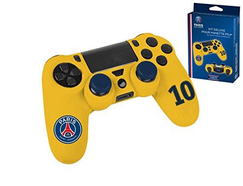 Pack d'accessoires de customisation avec coque / housse souple en silicone anti-transpirante, thumb grips caps pour joystick et sticker pour light bar - PSG Paris Saint Germain n°10 Neymar Jaune