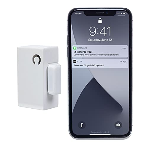 Doorsound - Refrigerator Door Left Open Alarm with time delay, Text Message Alert, Google Home Announcements, Reminders, Chime and app Notifications | no hub | CR123a Battery NOT Included (White)