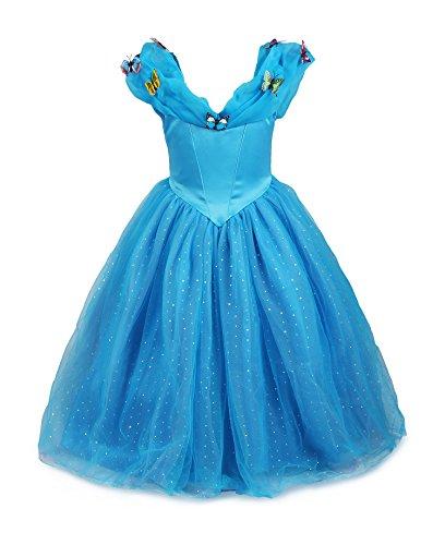 ReliBeauty Mädchen Prinzessin Cinderella Schmetterlinge Maxi Kleid, Blau, 122-128(Etikett 120)