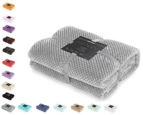 DecoKing Kuscheldecke 170x210 cm Stahl Decke Microfaser Wohndecke Tagesdecke Fleece weich sanft kuschelig skandinavischer Stil grau anthrazit Henry