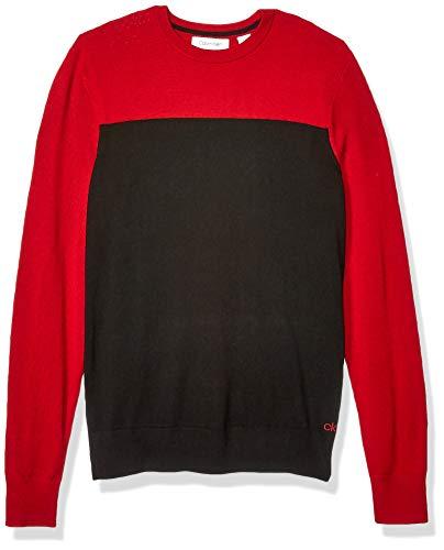 Calvin Klein Mens Merino Sweater Crew Neck, Jester Red, X-Large