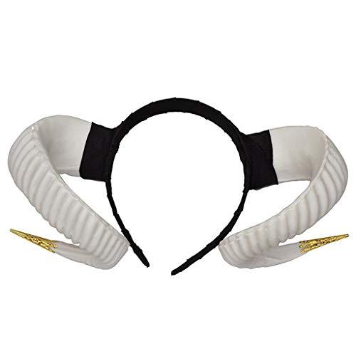 Overdose Gothic Devil Floral Horns Kopfschmuck Haarband Haarschmuck Party Stirnband Kopfband Haarreif Headwear Zubehör für Halloween Fasching Karneval (B3)