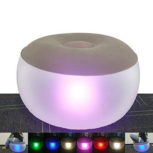 jielun Inflatable Chair Illuminated LED Light Inflatable Stool Ottoman Folding Footstool Flocking Lazy Couch Decorative Lamp Furniture with Remote Control (20 Inch, Khaki)