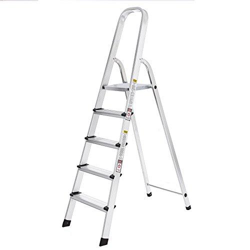 SONGMICS Escalera Plegable de Aluminio, con 5 Peldaños, Carga Máxima de 150 kg GLT159