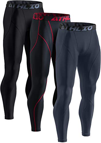 ATHLIO Men's Thermal Compression Pants, Athletic Running Tights & Sports Leggings, Wintergear Base Layer Bottoms, 3pack(lyp44) - Black/Black & Red/Charcoal, X-Large