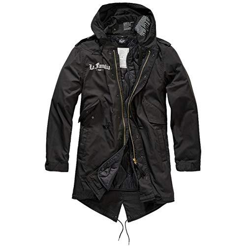 No Fight No Glory Männer und Herren Parka lang Winter Jacke mit heraustrennbaren Futter La Familia LOYAL schwarz/weiß Größe S bis 5XL