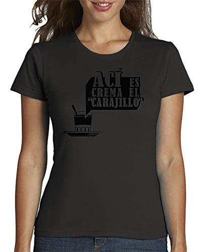 latostadora - Camiseta AC para Mujer Gris Oscuro XL