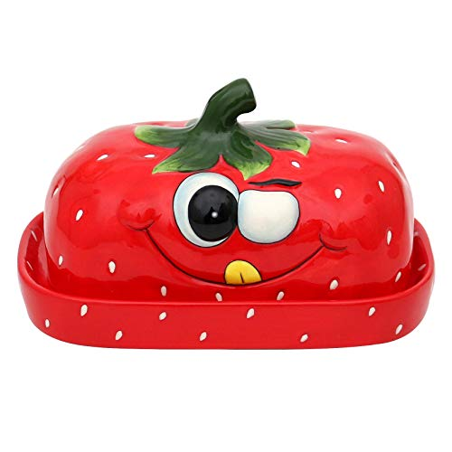 Dekohelden24 Keramik Butterdose/Butterglocke als Erdbeer in rot, Maße ca. 16,5 x 11 x 10 cm.