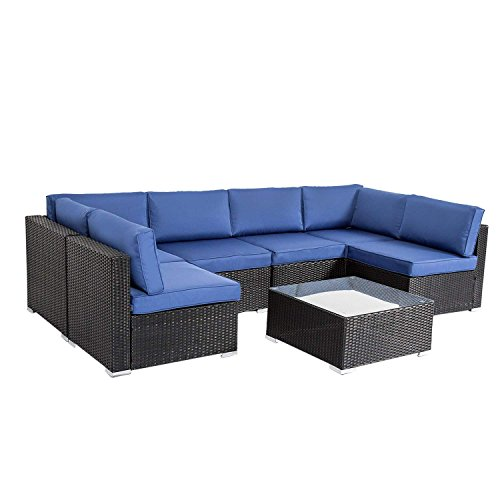 Peach Tree Outdoor Furniture All-Weather Sectional Wicker Sofa Set 7 PCs Patio Rattan Clearance with Washable Cushions and Coffee Table, Backyard, Pool