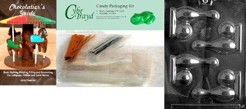 Cybrtrayd Bowling Pin Ball Schokolade Form mit Chocolatier 's Bundle, inklusive 50Cello Taschen, 25gold & 25silber Twist Krawatten und Chocolatier 's Guide
