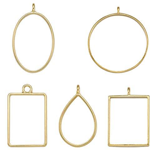 Fashewelry 25pcs Formas Mixtas Aleación Abierta Espalda Bisel Colgantes Oro Geométrico Blanks Hollow Mold para DIY Resina Artesanías 29 ~ 39mm