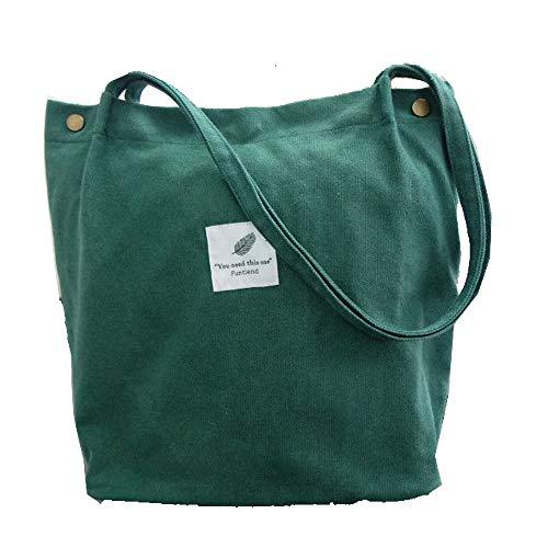 Funtlend Damen Handtasche Groß Canvas Tasche Damen Umhängetasche Henkeltasche Damen für Mädchen Schule Uni-Upgraded-40 * 35 * 11 (Dunkelgrün)