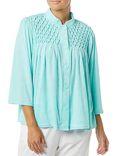 AmeriMark Women's Terry Knit Bed Jacket Button Down Front with Waffle Weave Yoke Aqua MD