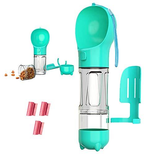 Dog Travel Water Bottle for Walking - 300ml Portable Pet Water Dispenser with Food Container and Dog Waste Bag Poop Shovel Multifunctional Detachable Design Food Grade Leak Proof BPA Free (Blue)