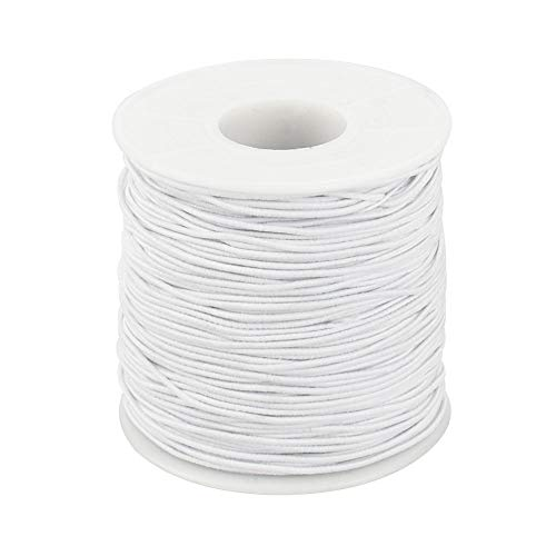 LYTIVAGEN 100m Cuerda Elástica Cordón de 1mm Cordones de Fabricación de Tela Elástica Cordón Artesanal Hilo Elástico Hilo de Perlas para Pulseras, Collares, Fabricación de Joyas, Bricolaje (Blanco)
