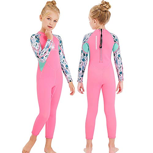 MWTA Wetsuit for Kids Boys Girls 2.5mm Neoprene Thermal Swimsuit Fullsuit Wet Suits Long Sleeve for Toddler Child Junior Youth Swimming, Diving, Surfing Pink-XL