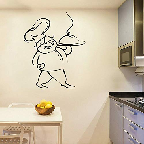 Etiqueta engomada de la pared del vinilo del hogar francés Spaghetti Cooking Chef Art Tatuajes de pared Cocina Decoración del hogar Cocina francesa Restaurante Mural