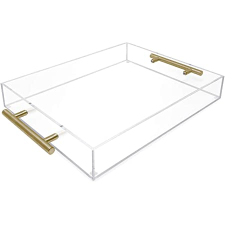 """Durable Quality Elegant and Classy Design Desk and Table by Sofiam Home 20X13/"""" Acrylic Ottoman Tray With Handles and Edges For Decor Display Clear EXTRA LARGE Clear Serving Tray"""