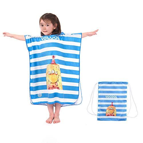 Poncho de Baño para Niños Toalla de Baño con Capucha Toalla con una Bolsa Toalla de playa Microfibra Absorbente Secado Suave Natación Motivo Animal para Niñas Niños Bebé (Monstruos)