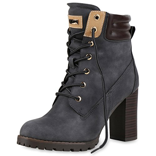 SCARPE VITA Gefütterte Damen Worker Boots Holzoptikabsatz Stiefeletten 160665 Grau Gefüttert 37