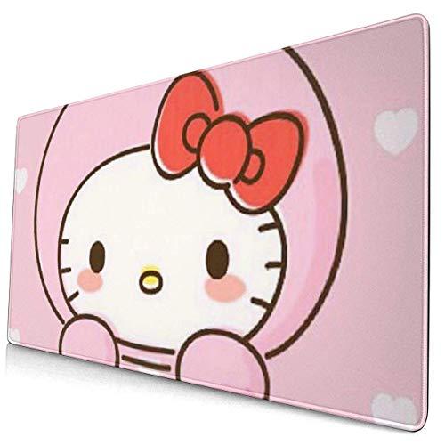 Hello Kitty - Alfombrilla de ratón grande para juegos con base antideslizante para ordenador portátil y plegable