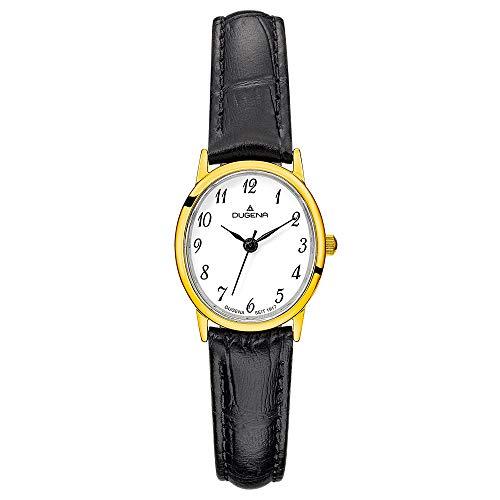 DUGENA Damen-Armbanduhr Vintage, Quarz, Edelstahlgehäuse, gehärtetes Mineralglas, Lederarmband, Dornschließe, 3 bar (schwarz/Gold/weiß)