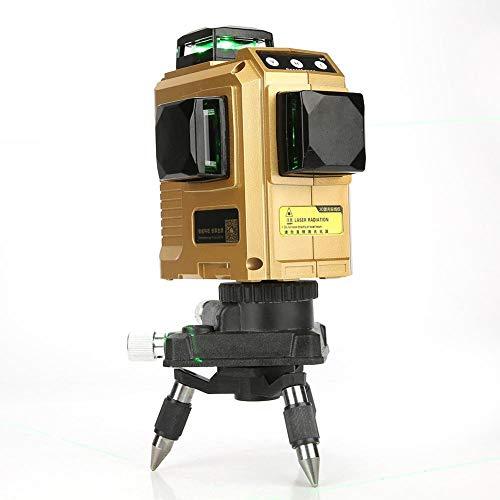 Akozon Laser Level Line Level Zelfnivellerend 360 ° 50 m Goud Shell Green Beam verticale en horizontale IP54-lijnen Laser 12 Line Kruislijnnivelleringsgereedschap ± 3 mm/10 m afstandsbediening EU Stecker