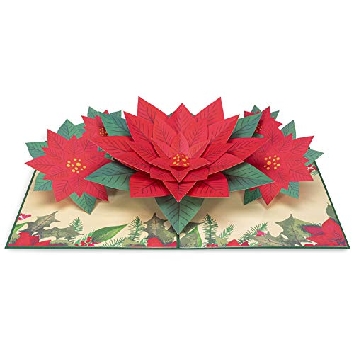 PaperLove Poinsettia Flower Pop Up Christmas Card, Handmade 3D Popup Greeting Cards for Winter, Christmas, Holiday, Xmas Gift, All Occasion   5' x 7'