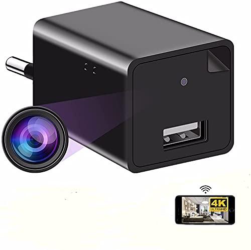 Cámara espía 4K Mini DV - Full HD Wireless Hidden1080P USB AC Phone Wifi Spy Cam Cargador de vigilancia para grabación de video detección de movimiento Control remoto de aplicación @ DLaingrs
