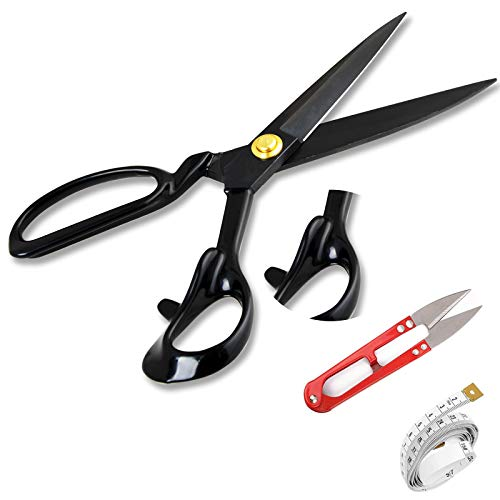 Sewing Scissors Fabric Scissors - Industrial Strength High Carbon Steel Tailor Scissor Shears for Fabric Leather Sewing Dressmaking Tailoring Home Office Artists Dressmakers (9inch-3IN1)