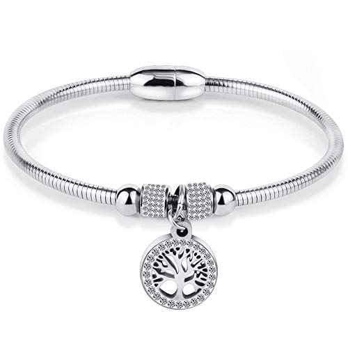 Jude Jewelers Stainless Steel Magnetic Tree of Life Charm Bangle Bracelet Cocktail Party (Silver)