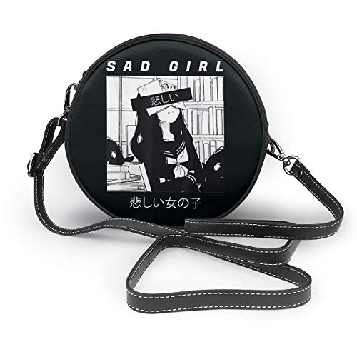 Yuanmeiju Bolso de hombro redondo Sad Anime Girl Japanese Babe Otaku Fashion Shoulder Bags Crossbody Bag