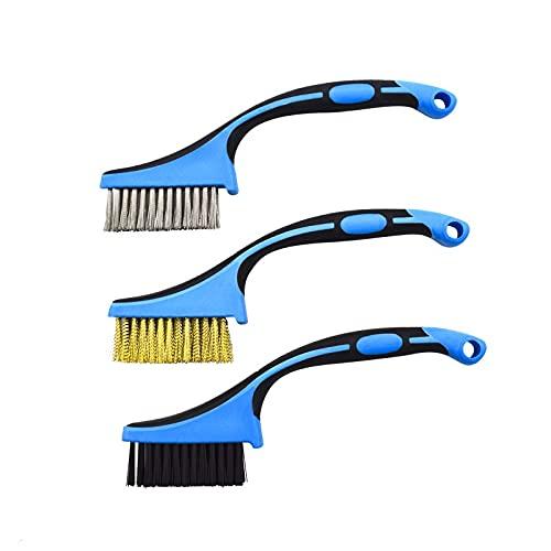 XZJJZ Cable de Cobre de Acero Inoxidable Cepillo de Nylon Cepillo de Metal Remoción de óxido Remoción de Aceite Pulido Industrial Pulido de la casa Limpieza de los hogares 3 unids