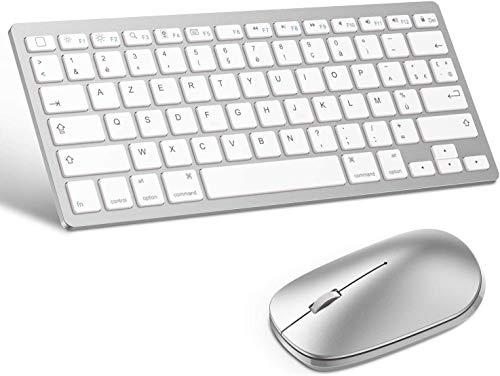 OMOTON Clavier Souris sans Fil pour iPad Air /10,9/iPad Pro 11/12,9 2020 AZERTY, Clavier Bluetooth AZERTY pour Tous iPad iPhone IOS13 Blanc (Souris Compatible avec Ordinateur iOS/Android)