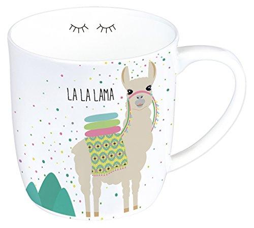 Moses 80429 Lama Tasse, Kaffeebecher aus Porzellan, Weiß