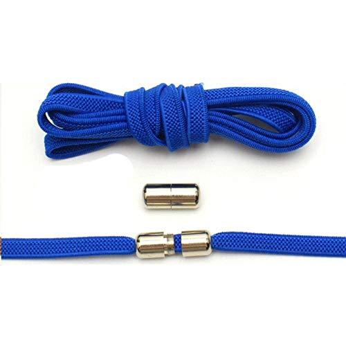WEDSA 12 colori elastici senza cravatta lacci per scarpe a semicerchio per bambini e adulti scarpe da ginnastica lacci pigro metallo serratura lacci Shos-Stati Uniti, blu navy
