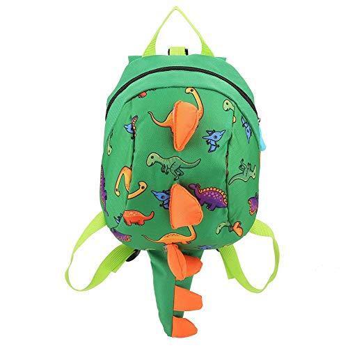 Dinosaurier Rucksack Kinder Kinder Kleinkind Tasche Cartoon Rucksack Snack Lunchpaket Reiserucksack mit Sicherheitsgurt Leine für Vorschuljungen Mädchen(Grün)