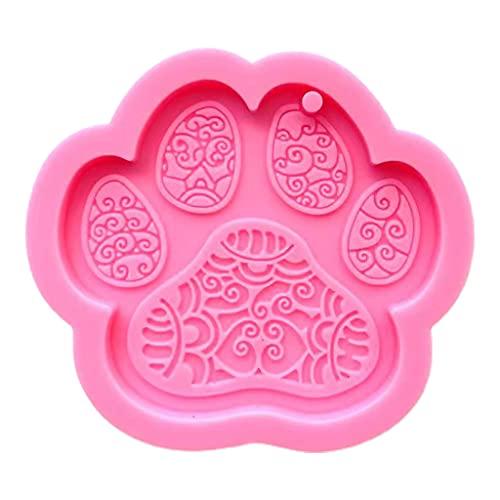 DUESI Lindo perro pata llavero resina epoxi molde pendientes colgante molde de silicona DIY artesanía joyería herramientas de fundición