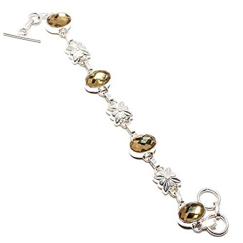 jewels paradise Impresionante pulsera de topacio místico amarillo facetado hecho a mano plata de ley 925 chapado en joyería – ajustable y flexible – Pulsera de cadena de eslabones – (SF-1115)