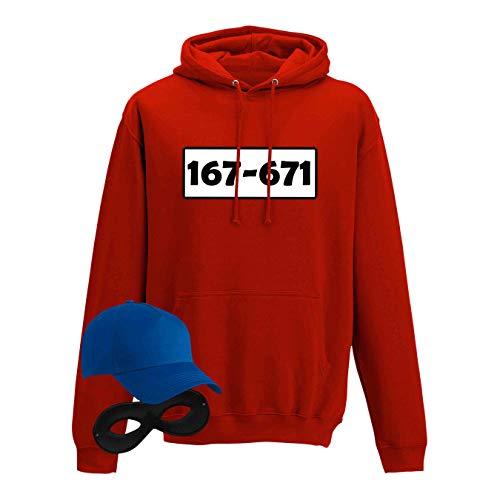 Hoodie Panzerknacker Kostüm-Set Wunschnummer Cap Maske Karneval Herren XS - 5XL Fasching JGA Party Sitzung, Größe:XL, Logo & Set:Standard-Nr./Shirt only (167-761/Hoodie ohne Zubehör)