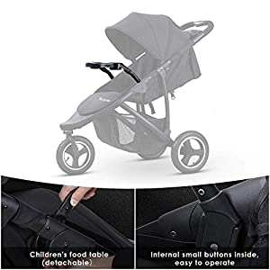 Scozer Stroller with Dining Plate and Cup Holder Big Storage Basket,Adjustable Awning, Variable Seat and Recliner Lightweight Baby Jogger Travel System,Black