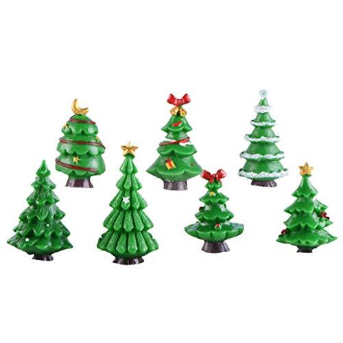 JYKFJ 7pcs Adornos para árboles de Navidad Decoraciones para árboles de Navidad Árbol de Navidad en Miniatura Favores de Fiesta de Navidad Regalos
