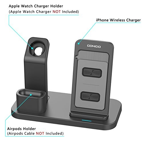 Conido Wireless Charger for iPhone, 3 in 1 Charging Stand for Apple Series Watch 5/4/3/2/1/, AirPods Pro 2 1 Charging Dock, Charging Station Compatible iPhone SE 2020,11 Pro Max, XS Max, XR, X, 8 Plus Photo #3