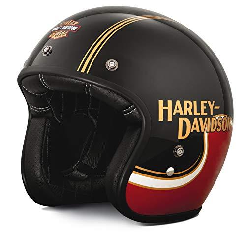 HARLEY-DAVIDSON Motorradhelm Jethelm The Shovel B01 Halbschalenhelm Motorrad Helm Fiberglas-Schale Goldene Pinstripes, S