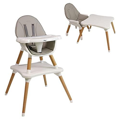 Trona EVA 2 en 1 a partir de 6 meses con patas de madera - se puede transformar en silla infantil + pupitre de 3 a 5 años. (Gris)